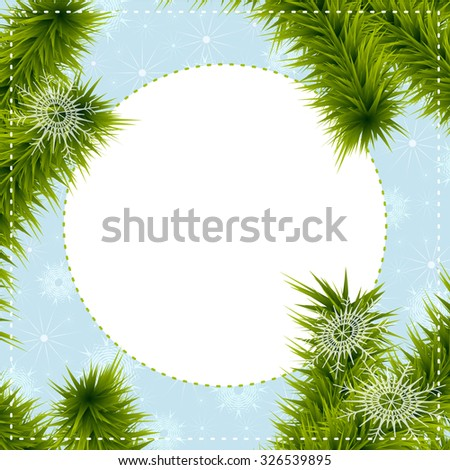 Christmas greeting card with Christmas tree branches and with place for your text on a blue background with snowflakes. Vector eps 10. - stock vector
