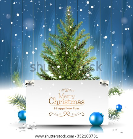 Christmas greeting card with Christmas tree on wooden background - stock vector