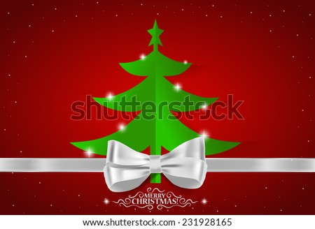 Christmas greeting card with Christmas tree, vector illustration. - stock vector