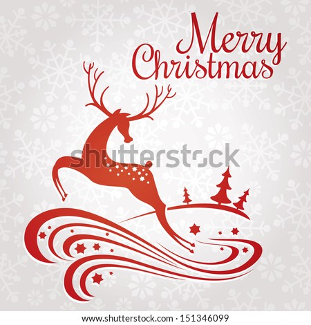 Christmas greeting card with deer vector illustration - stock vector