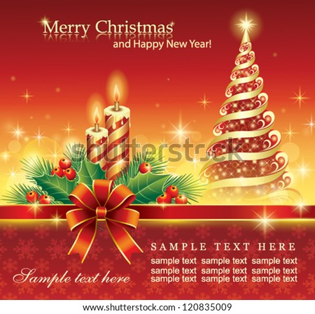 christmas greeting card with fir tree and candle - stock vector