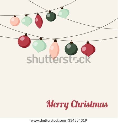 Christmas greeting card with garland of christmas balls, vector illustration background - stock vector