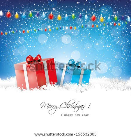 Christmas greeting card with gift boxes in snow - stock vector