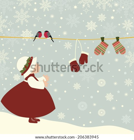 Christmas greeting card with girl outdoor - stock vector