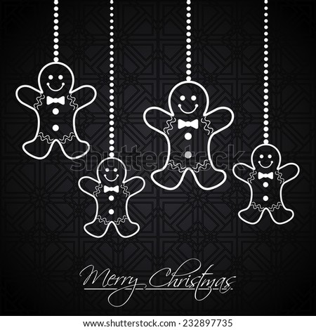 Christmas greeting card with hanging gingerbread man. - stock vector