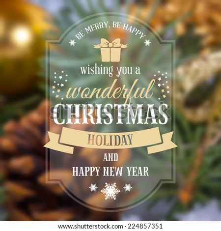 Christmas greeting card with holiday still life on background. Blurred effect. Vector illustration. - stock vector
