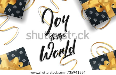 Christmas greeting card joy world quote stock vector 735941884 christmas greeting card with joy to the world quote lettering and gold design decorations for m4hsunfo