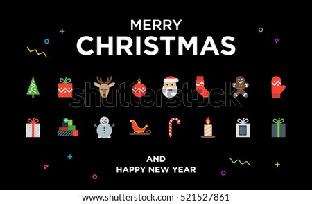 Christmas Greeting Card with lettering, icons and elements. Material design Vector illustration