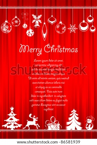Christmas greeting card with lots of Christmas items - stock vector