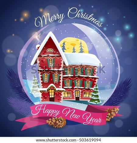 Christmas greeting card magic house night stock vector hd royalty christmas greeting card with magic house at night lights background and happy new year wishing flat m4hsunfo Images
