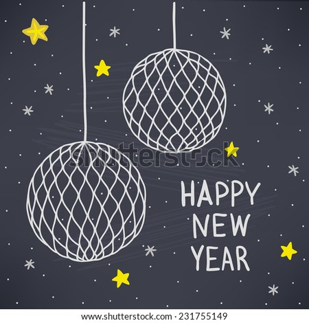 Christmas greeting card with paper balls and stars. Chalk drawn vector illustration