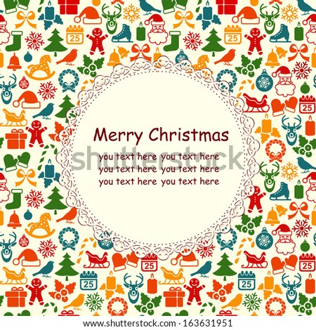 Christmas greeting card with place for text - stock vector