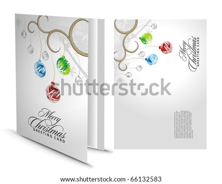 Christmas greeting card with presentation design. - stock vector
