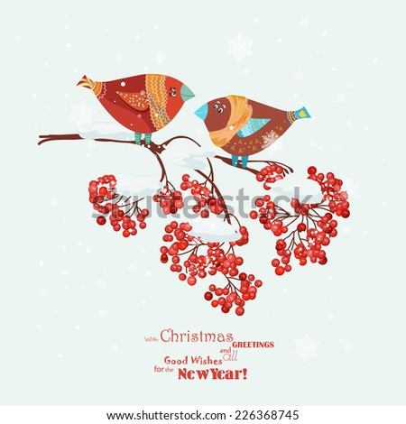 Christmas greeting card with robins, birds, rowan branch. New year - stock vector