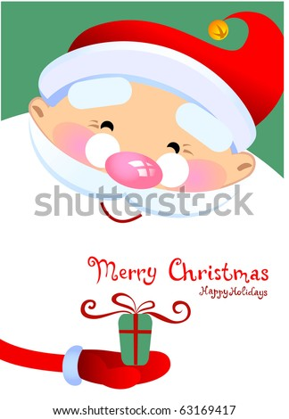Christmas greeting card with Santa Claus Cartoon - stock vector