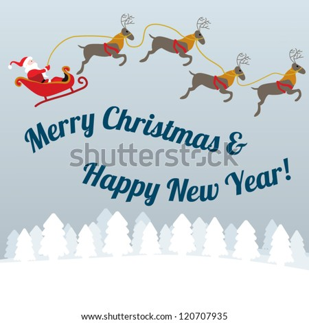 Christmas greeting card with Santa flying with reindeer in sleigh above snowy landscape with trees - stock vector