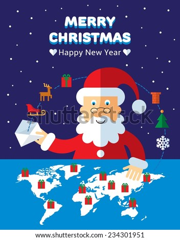 christmas greeting card with santa planning delivery of gifts