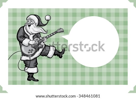 Christmas greeting card with Santa playing on electric guitar - just add your text - stock vector
