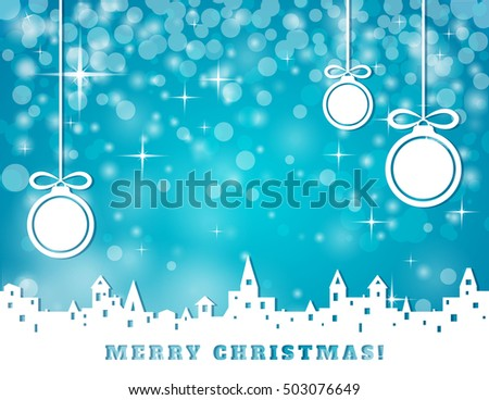 christmas greeting card with silhouette of old town and hanging three christmas balls on blue festive background