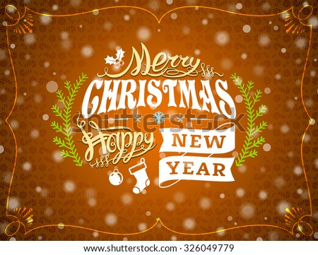 Christmas greeting card with snowfall effect. Holiday wishes against golden New Year background. Vector illustration for christmas, new year's day, winter holiday, new year's eve, silvester, etc - stock vector