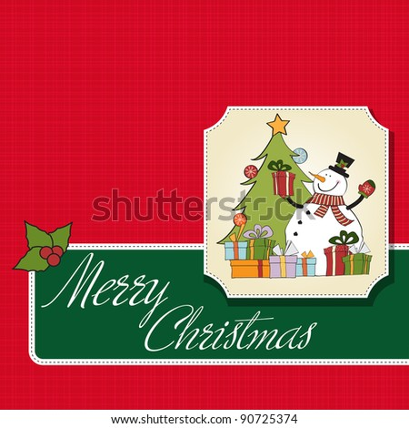 Christmas greeting card with snowman - stock vector