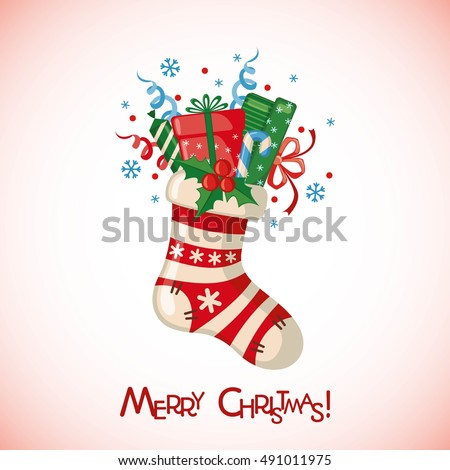 Christmas greeting card with sock full of gifts in flat style. Vector illustration.