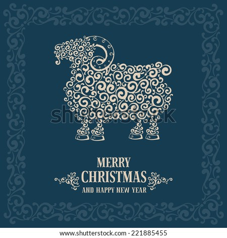Christmas greeting card with stylized sheep, symbol of year 2015 - stock vector
