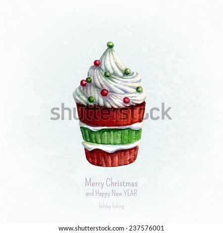 Christmas greeting card with watercolor cupcake on blue background. Christmas and New Year card template. Winter blue background in grunge style. Vector watercolor illustration, eps10. - stock vector