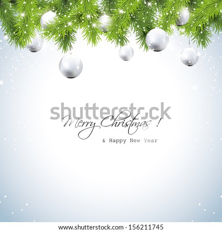 Christmas greeting card with wreath and silver balls - stock vector