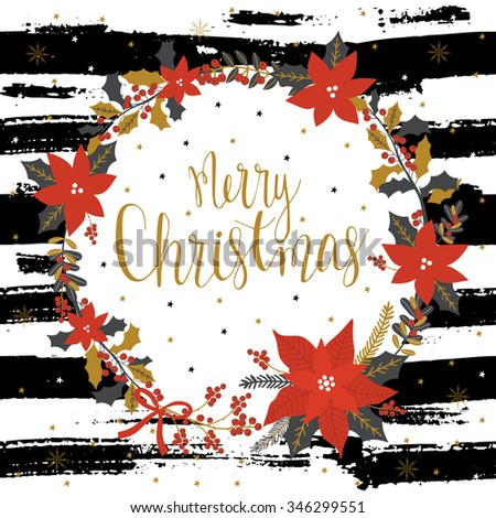Christmas Greeting Card with wreath. Merry Christmas lettering. Template for New 2016 Year Cards, Scrapbooking, Stickers, Planner, Invitations. - stock vector