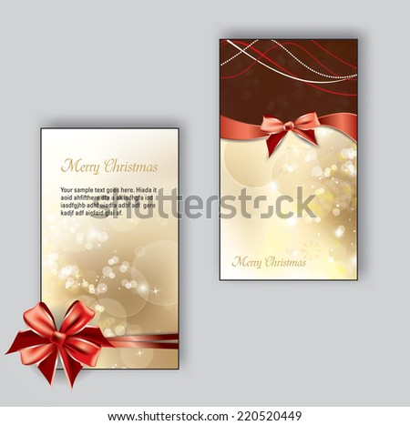 Christmas Greeting Cards. Could be used for Birthdays, Weddings, Thank You Cards and Invitations. - stock vector