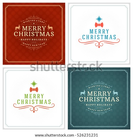 Christmas Greeting Cards Typography Design Set. Holidays wishes retro style vintage ornament decoration. Vector illustration EPS 10.