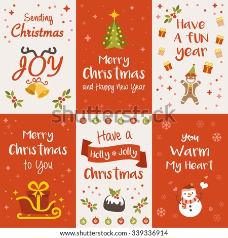 Christmas Greeting Cards, Vector Illustration