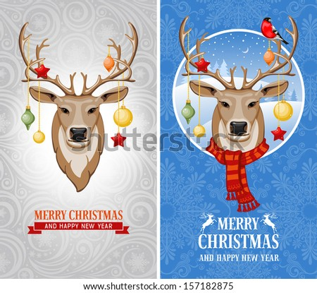 Christmas greeting cards with deer  - stock vector