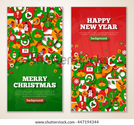 Christmas greeting cards flat holiday icons stock vector 447194344 christmas greeting cards with flat holiday icons in circles vector illustration vertical red and m4hsunfo Image collections