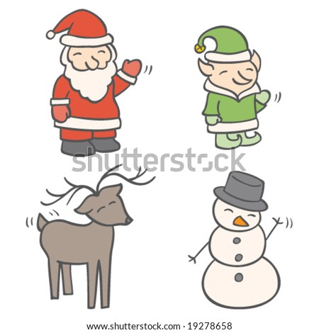 Christmas Greeting Characters - stock vector