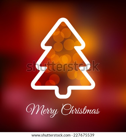 Christmas Greeting Design with Background Lights - stock vector