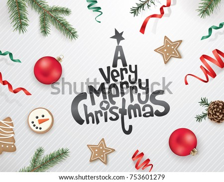 Christmas greeting design with ribbons, Christmas ornaments, cookies, candy cane, pine cones and fir branches