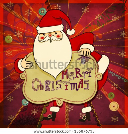 Christmas Greeting - Hand drawn illustration of cute Santa Clause wishing you a Merry Christmas, against colorful patchwork backdrop, with stitches and sewing buttons - stock vector