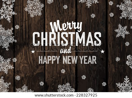 Christmas Greeting On Wooden Planks Texture. Vector - stock vector