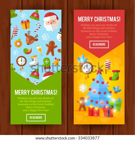 Christmas greeting invitation cards banners flat stock vector christmas greeting or invitation cards and banners with flat winter elements santa deer stopboris Choice Image