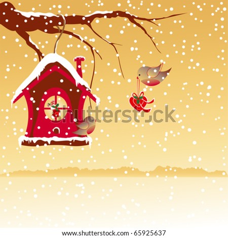 Christmas greeting robin bird wallpaper - stock vector