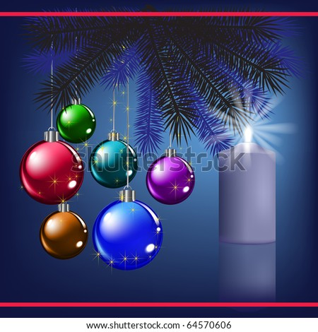 Christmas greeting with decoration and blue candle - stock vector