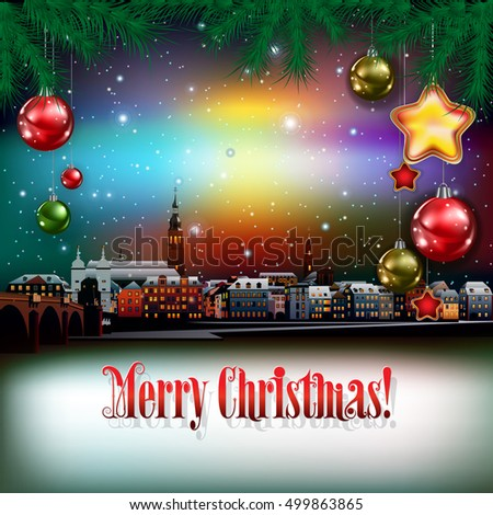 Christmas greeting with panorama of city and pine branch