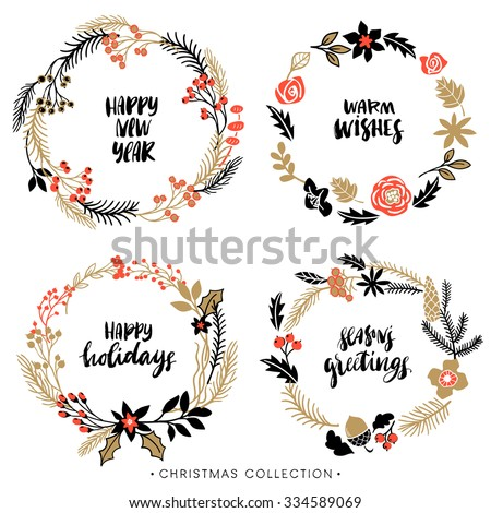 Christmas greeting wreaths with calligraphy. Handwritten modern brush lettering. Hand drawn design elements. - stock vector