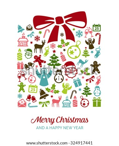 Christmas greetings card  - background with holiday icons. - stock vector