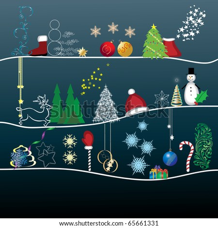 Christmas greetings card with different character and cartoons for christmas, vector illustration - stock vector