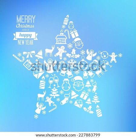 Christmas greetings card with icons symbolizing winter and Christmas - stock vector