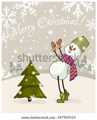 Christmas greetings with snowman and Christmas tree - stock vector