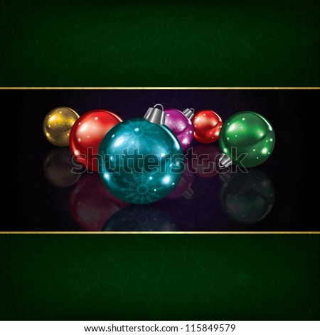Christmas grunge background with decorations on black - stock vector